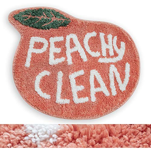 "RORA Bath Rug for Kids Coral Pink Peach Shape with White Words Cartoon Plush Water Absorbent Bathroom Decor Mat Bathtub Bathroom Doormats for Children's Room Non Slip Washable Toilet Rug(25.2""X20.5"")"