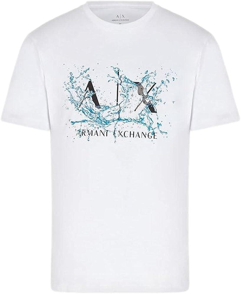 Armani exchange t-shirt con logo, maglietta da uomo a maniche corte, 100 % cotone