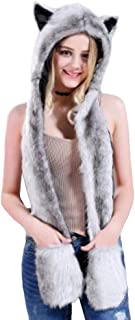 HomDSim Anime Spirit Animal Hood Hoods Furry Hoodie,Faux Fur Hat with Warm Scarf Mittens Gloves Spirit Ears and Paws