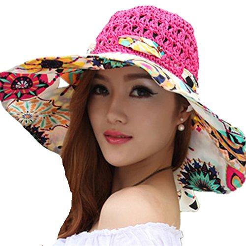 TININNA Pieghevole Bohemia Floreale floscio Large Wide Brim Cappello di Paglia Spiaggia Cappello da Sole Visiera cap per Signore delle Donne Rose Rosso