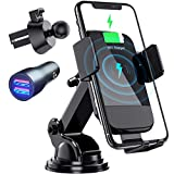 Wireless Car Charger, CTYBB Qi Auto-Clamping Air Vent Dashboard Car Phone Holder & QC3.0 Car Charger, 10W Compatible for Galaxy S10/S10+/S9,Charging for iPhone 11/11 Pro/11 Pro Max/XSMax/XS/XR/X/8P/8