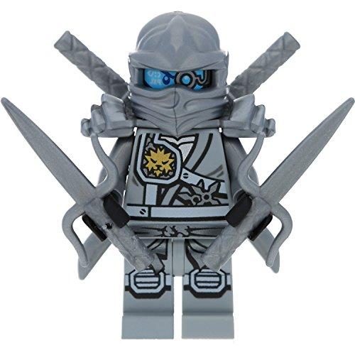 LEGO Ninjago Minifigur: Titanium Zane (Grauer/silberner Ninja) mit Schwertern - Wettkampf der Elemente