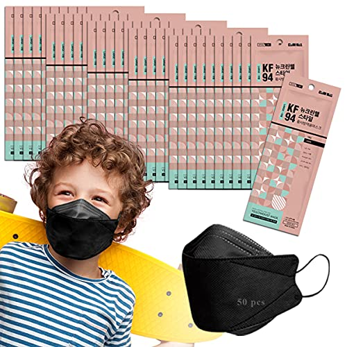 Kids Unisex Age 8-15 Breathable Individually Packed (Pack of 50 Black Cleanwell)