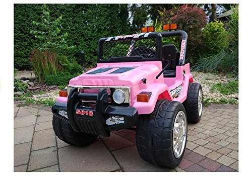 Lean Toys Coche eléctrico para niños Jeep Raptor, color rosa