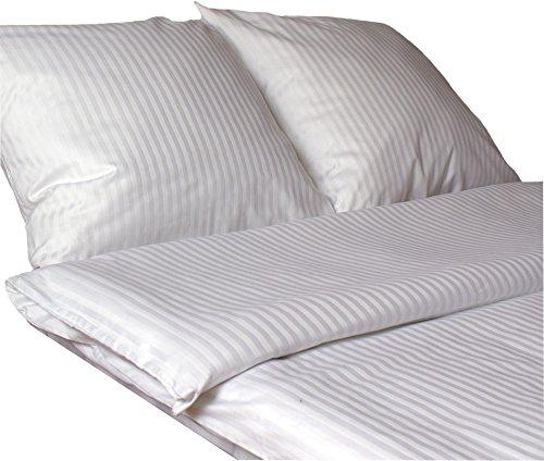 KMP Baumwolle Damast Bettwäsche Set 10 mm Streifen Neu mit Hotelverschluss 135x200✓155x200✓200x220 cm (135 cm x 200 cm)