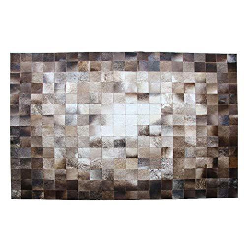ACZZ Teppiche Luxuriöser Teppich Patchwork Echter Lederteppich Rutschfeste Klavierunterlage Wohnzimmer Schlafzimmer Arbeitszimmer Rechteckiger Nachtteppich - Braun Geometrisch handgenäht,120 * 180cm