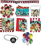 Captain Jake Nimmerland Piraten 128-tlg Kindergeburtstag Party Deko Set Motto 12 Teller 12 Becher 32 Servietten, Tischdecke 6 Einladungskarten 6 Partytüten Partykette 8 Augenklappen 50 Luftballons