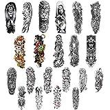 21 hojas de pegatinas de tatuaje temporal de brazo completo, rosa bestia lobo león ojo de tigre tótem tatuajes extra grandes pegatinas de tatuaje extra grandes a prueba de agua.