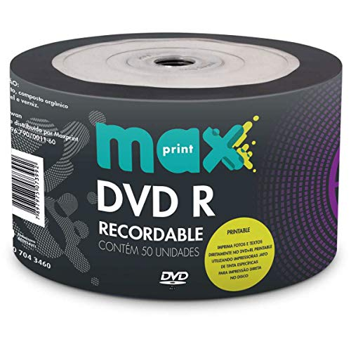 MÍDIA DVD-R Printable Gravável MAXPRINT 4.7 GB - 120 MIN - 16X - Bulk c/50 unidades
