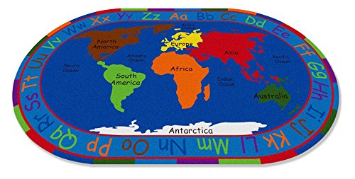 """Kid Carpet All All Around The World Map Oval Nylon Area Rug, 6' x 8'6"""", Multicolored"""