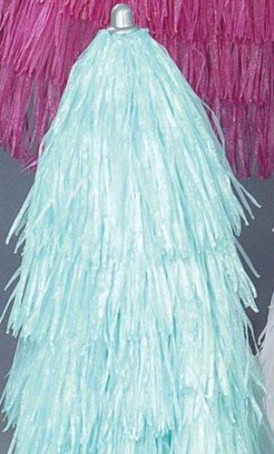 Jan Kurtz Parasol Hawaii 200 cm avec frange Turquoise raphia Parasol