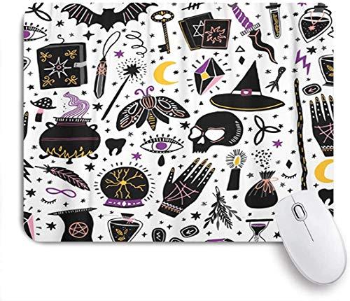 Alfombrilla de ratón Rectangular, brujería mágica, brujería, alquimia esotérica, Dibujo Bohemio Negro,...