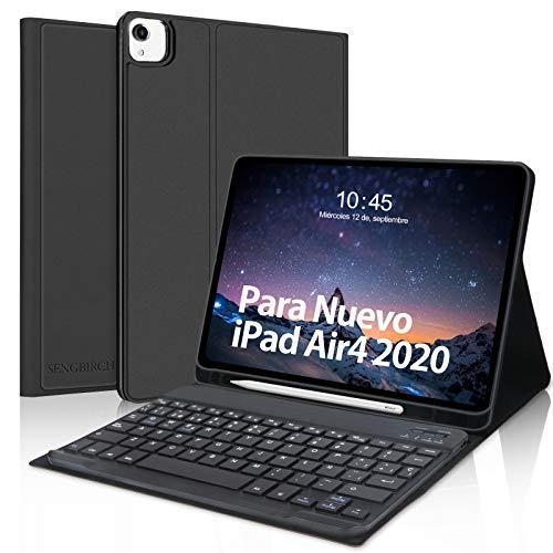 Teclado Funda para iPad Air 4 10.9 Pulgadas(2020),SENGBIRCH Español Teclado Bluetooth con Inteligente Funda para iPad Air 4/iPad Pro 11 2020/2018,Carcasa con Auto-Sueño/Estela,Negro