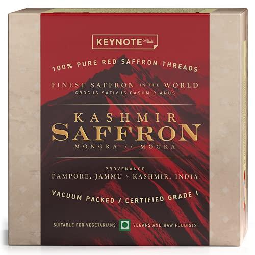 Keynote Kashmir Saffron / Kashmiri Kesar / Keshar / Vacuum Packed Glass Bottle 1 Grams