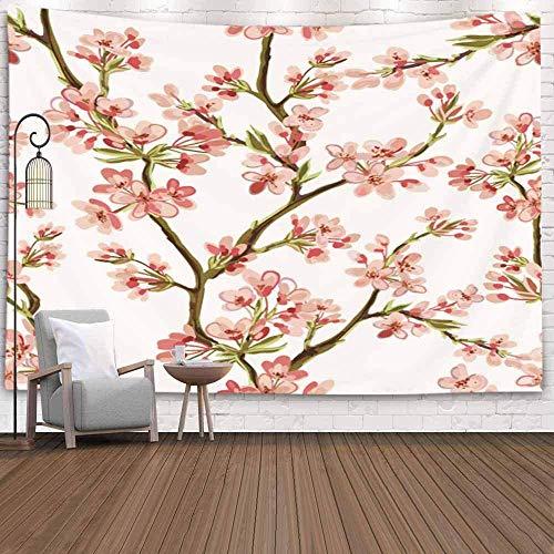 XNJHFGVB Tapiz de pared para Halloween, Navidad, Día de Acción de Gracias, otoño, patrón de 201 x 152 cm con flores tropicales japonesas, árbol de primavera, tapiz para decoración de dormitorio, hogar