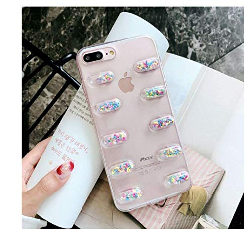 fvfbd Phone hülle 3D Pill Capsule Phone Case for iPhone 7 Cartoon Character Soft Clear TPU Back Cover