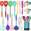 Fungun Kitchen Cooking Utensil Set, 24 pcs Non-stick Silicone Kitchen Utensils Spatula Set with Holder, Stainless Steel Handle Heat Resistant Silicone Kitchen Gadgets Utensil Set (Colorful) by