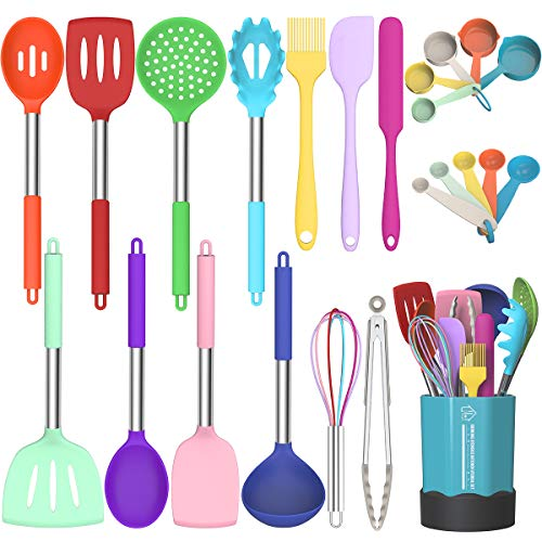 Fungun Kitchen Cooking Utensil Set, 24 pcs Non-stick Silicone Kitchen Utensils Spatula Set with Holder, Stainless Steel Handle Heat Resistant Silicone Kitchen Gadgets Utensil Set (Colorful)