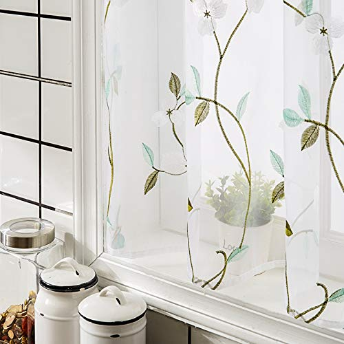 MRTREES White Sheer Tier Curtains 24 inches Long Floral Embroidered Flower Embroidery Voile Kitchen Tiers Rod Pocket Multi Color Small Half Window Curtains 2 Panels