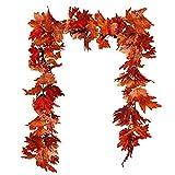 Guirnalda de hojas de arce artificiales, para colgar, decoración otoñal, hojas de...