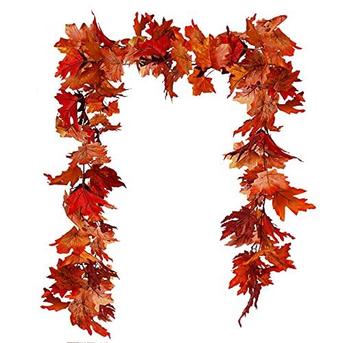 Guirnalda de hojas de arce artificiales, para colgar, decoración otoñal, hojas de arce, decoración de exterior, para interiores y exteriores, oficina, cocina, jardín, fiesta, decoración de pared