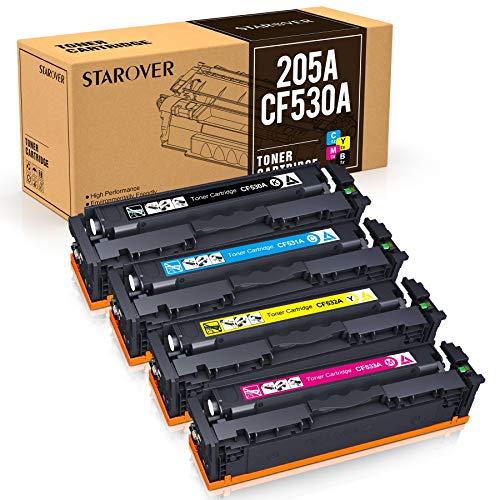 STAROVER Sostituzione Cartuccia Toner Compatibile per HP 205A CF530A CF531A CF532A CF533A per HP Color Laserjet Pro M181FW M181 M180 180N M154A M154NW M154 (1Nero 1Ciano 1Magenta 1Giallo,4Confezioni)