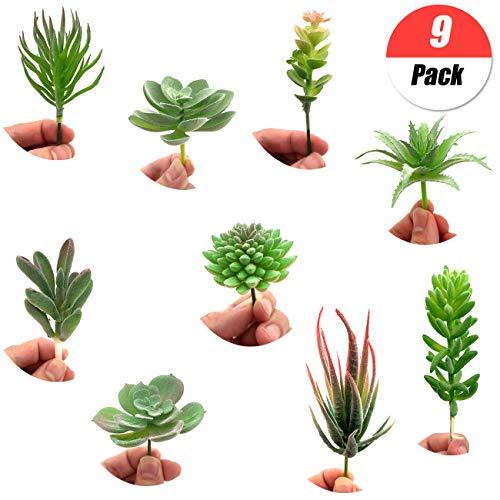 YuChiSX 9 Piezas de Plantas Artificiales carnosas Mixtas, Artificiales Plantas suculentas Verde Flower,Plantas carnosas de imitación para el hogar decoración, Interior, jardín, Bricolaje