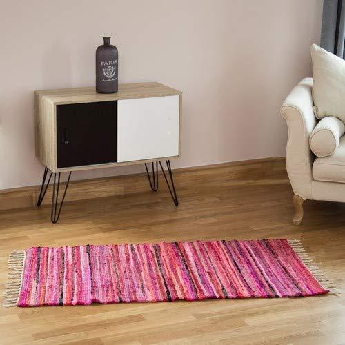 Relaxdays Flickenteppich 70 x 140 cm mit Fransen aus Polyester und Baumwolle, mehrfarbig, Fleckerlteppich, rot