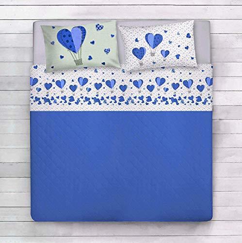 ALAMBRA Juego de sábanas, par de sábanas para cama de matrimonio y individual algodón corazones y globos aerostáticos, corazones románticos, fabricado en Italia, diseño romántico, amor, corazones