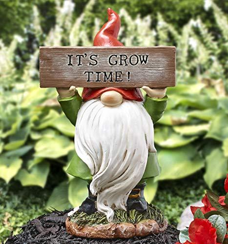 The Lakeside Collection Gartenzwerg mit It\'s Grow Time Schild – dekorativer Outdoor-Akzent