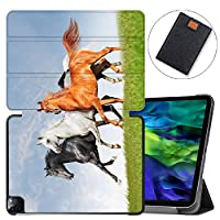 """MAITTAO Magnetic Smart Case for iPad Pro 11 inch 2020, Support Apple Pencil Wireless Charging with Auto Sleep/Wake, Leather Stand Cover for New iPad 11"""" 2020 A2228 / A2231,Akhal-Teke Horse 15"""
