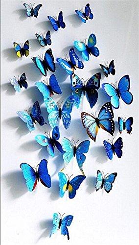 Homiki 24 Piezas 3D Mariposa Azul Adhesiva Magnética para Decoración de Hogar Casa Habitación Ofiina Pared Nevera