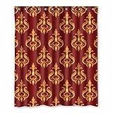 Nahtlose Geometrische Muster - Dunkler Roter Generic Duschvorhang 100prozent Polyester wasserabweisend Anti-schimmel Badezimmer Vorhänge 60