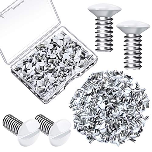 120 Pieces Wall Switch Plate Screws 5/16 Inch Long 6-32 Thread Switch Cover Metal Panels Screws Oval Head Replacement Socket Screws Milling Slot Screws for Wall Light Switch Panels (White)