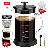 Upgraded French Press Coffee Maker Glass 34 oz, French Coffee Press with Glass handle and non-slip silicone base Precise Scale Easy to Clean Durable Heat Resistant Black/Copper/Silver (Black, 34oz)