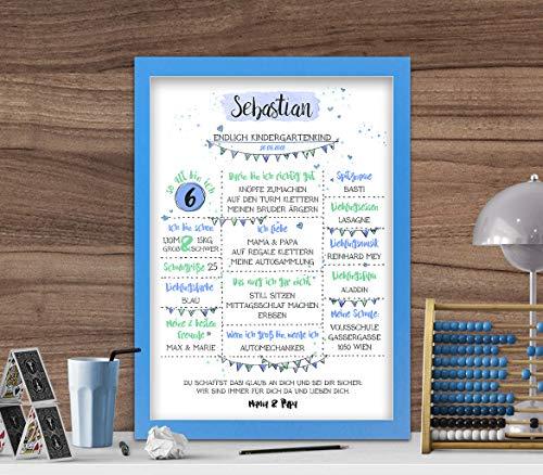 Meilensteintafel zur Einschulung, Geschenk zum Schulbeginn Kindergartenstart, Schulkind, Junge blau