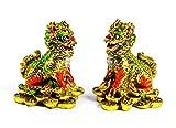 Art Saigon Feng Shui – Par de estatua chi lino, color dorado (altura 5,5 cm) (ref. CE2075-3) – Creatura mítica china – Símbolo de éxito y longevidad.