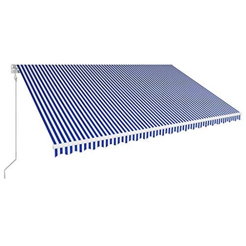Tidyard Luifel Automatisch Uittrekbaar Buiten Tuin Zonnescherm Luifel Gazebo Waterdicht Anti-UV 500X300 cm Blauw en Wit