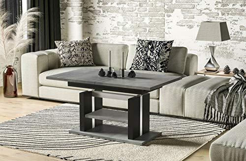 Endo-Moebel Couchtisch 110cm erweiterbar auf 170cm höhenverstellbar Doppellift modern Tisch (Beton)