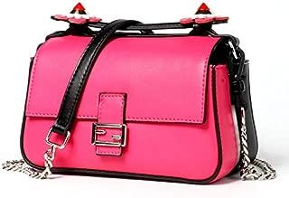 Leather 2018 New Women's Shoulder Wallet Fashion Small Square Wallet Handbag Wild Single Shoulder Messenger Wallet Leather Handbag Waterproof (Color : Pink, Size : S)