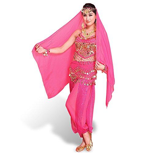 SymbolLife Lady Vestido danza del vientre india en muselina de seda y parte superior con relleno en el pecho + pantalón corto + cinturón + gran velo con campanas y monedas colgantes Rose talla única