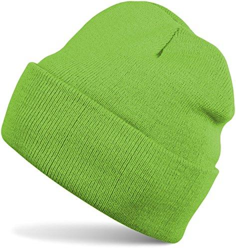 styleBREAKER styleBREAKER Klassische Beanie Strickmütze, warme Feinstrick Mütze doppelt gestrickt, Unisex 04024029, Farbe:Limettengrün