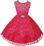AkiDress Floral Pattern Lace Flower Girl Dress for Little Girl Fuchsia...