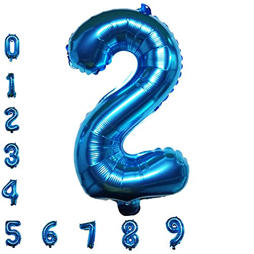 Blue Number Balloons, 40inch Digital Foil Birthday Balloons for Party Baby Shower Graduation Bridal Engagement Photo Shoot Anniversary (Number 2)