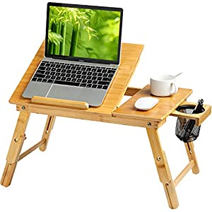 HUANUO Lap Desk- Fits up to 15.6  Inch Laptop Desk, Foldable Bed Tray Breakfast Table with 5 Angles Tilting Top, Height Adjustable Laptop Stand with Storage Net