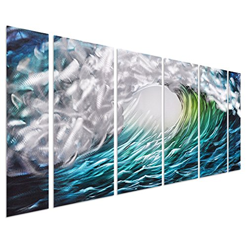 Pure Art The Great Wave off Kanagawa, Sea Storm Metal Wall Art Decor – Aquatic Beach of Greens, Blue's Turquoises and Silvers – Set of 6 Tropical Ocean Wave – 64″ x 24″
