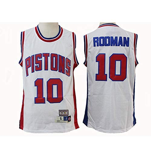 BMY Men's Jersey NBA Pistons #10 Rodman Blue/White Retro All-Star Jersey, Cool Breathable Fabric, Unisex Basketball Fan Sleeveless Sport Vest Top,White,XL:185cm/85~95kg
