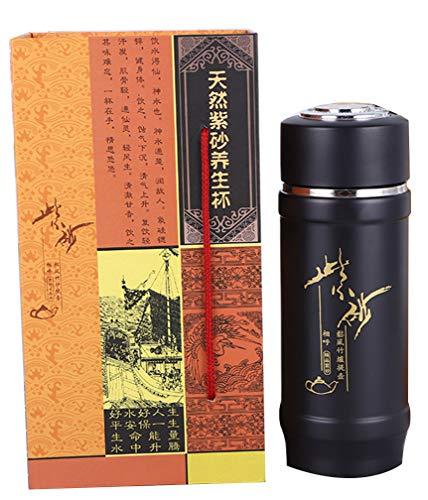HorBous Chinesischer Teekannen-Tee-Lila-Ton-Cup-Satz Isolierter Wasser-Cup mit Geschenkbox