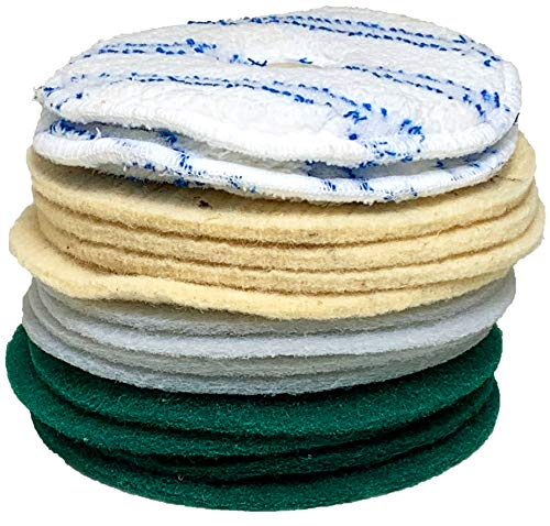 DirtyDog Sparset 14-Stück-Pad Set 2Microfaser 4xSchafwollpad 4xGrüne 4x Weiße Pads - Reinigungs und Polierscheiben Zubehör für DirtyDog Poliermaschine