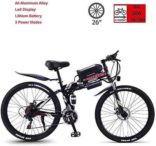 Bicicleta, Bicicleta Plegable eléctrica, Bicicleta eléctrica de montaña, Bicicleta de montaña de 26 velocidades de 21 Pulgadas de 21 velocidades 36V350W, Pantalla LEC (Tamaño: 13AH) (Size : 10AH)